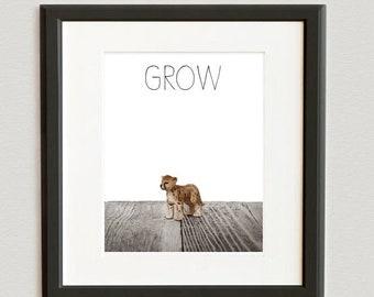 FLASH SALE til MIDNIGHT Nursery Decor, Baby animal art, Baby room ideas, Safari animal wall art, Baby Cheetah Grow Photo Print