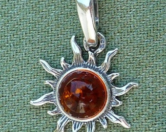 Small Baltic Amber & Sterling Honey Color Sun Pendant