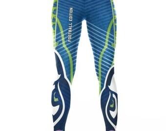 Seattle Seahawk Leggings. Seahawk Football Stretch Workout Leggings / Fitness Tights / Dance Pants. Seahawk Yoga Pants.