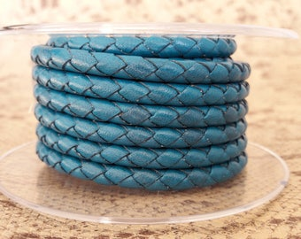Cord 5 mm turquoise braided round high quality European leather