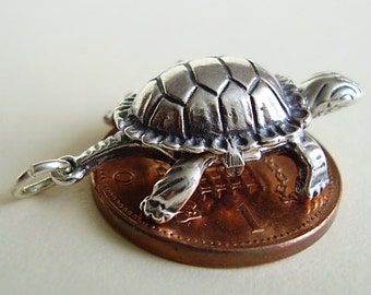 Tortoise and Hare Opening Sterling Silver Charm Charms