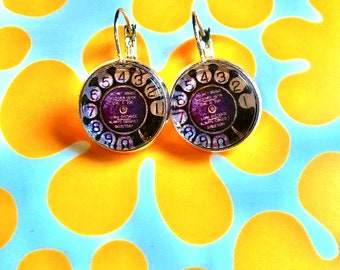 Rotary phone cabochon earrings- 16mm