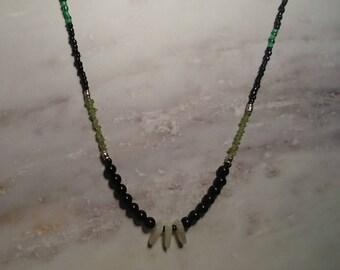 Obsidian, peridot, moonstone necklace.
