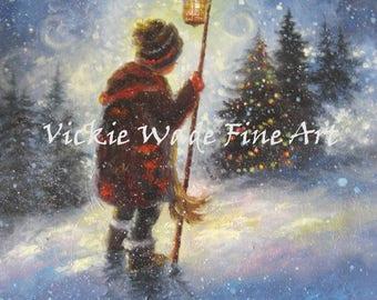 Boy Snow Art Print, little boy, lamp light, christmas tree, snow paintings, snow children, boy in snow carrying light, Vickie Wade Art