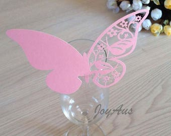 50x Pink Butterfly Name Place Card | Wine Glass Flute Wedding & Party Reception Ceremony Banquet Function Table Centerpiece Decoration
