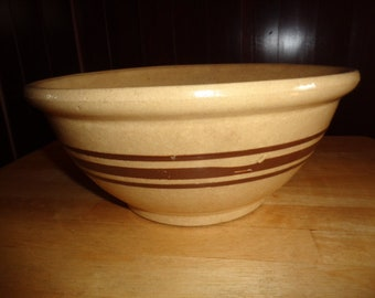 Antique Vintage Crock Banded HEAVY Bowl