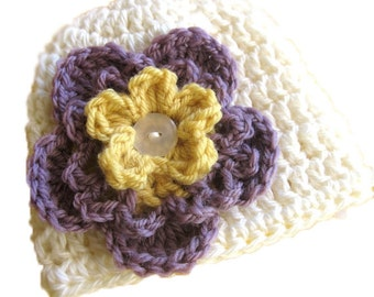Convertible Baby Flower Hat PDF Crochet Pattern