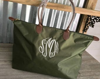 """TOTE/Olive Nylon 21"""" Tote Bag with Dual Handles"""