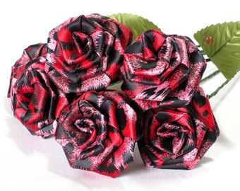 Red Leopard Print Rose Bouquet