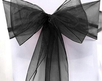 Black Organza Chair Sash Bow Wedding Venue Decoration
