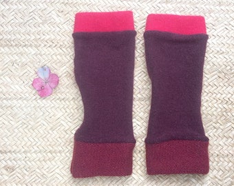 Fingerless Gloves in wine and reds cashmere, wrist warmers, typing gloves