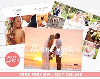Wedding Thank You Card, Wedding Thank You Photo Card, Printable Wedding Thank You, Photo Collage Thank You, Printable, Printed Photo Card