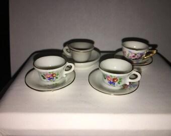 Vintage Dollhouse Teacups and Saucers Child's Play Vintage Tea Set - #48