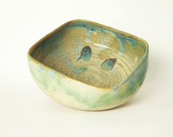 Stoneware Pottery Bowl, Colorful Handmade Clay Serving Bowl, Handmade Kitchenware