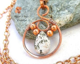Green White Stone & Copper Pendant, Jasper Gemstone Wire Wrapped, Rustic Boho Open Circle, Optional Chain Necklace, Adjustable Choker N303