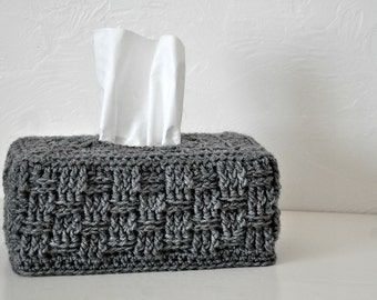 Grey Basket Weave Tissue Box Cover Nursery Decoration  Home Decor Kleenex Box Cover