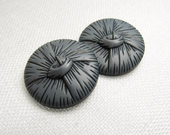 "With a Top Knot: Large 1-1/8"" (28mm) Silver-Blue Buttons - Set of 2 Vintage Matching Buttons"