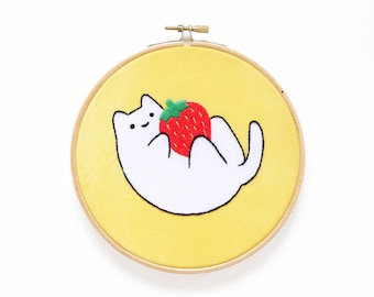 Strawberry Baby Cat - Hoop Art Kit - Limited Edition Kiriki Press Collaboration