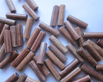 Brown Wood Tube Beads 20x6mm 14 Beads