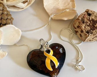 Gold Ribbon Necklace - Glass Heart Pendant - Childhood Cancer Awareness Gift