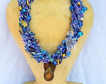 Purple Blue Chunky Masai Beaded necklace,Masai Statement African jewelry,Statement African Necklace