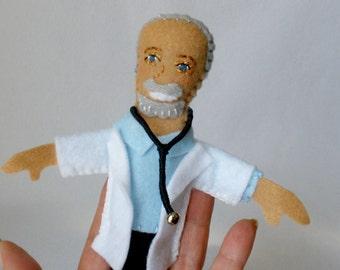 Doctor Finger Puppet, White Coat, Stethoscope, Teaching Toy, Pediatric Helper