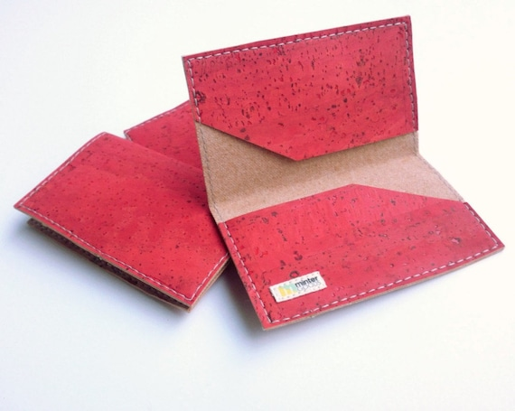 Cork business card case red cork fabric card case card cork business card case red cork fabric card case card holder stocking stuffer colourmoves