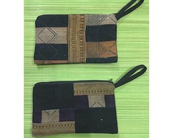 Vintage Handmade Tribal Hmong Dao batik embroidered silk cotton wallet