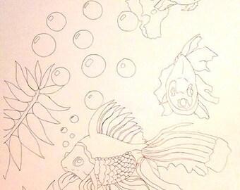 fish coloring card