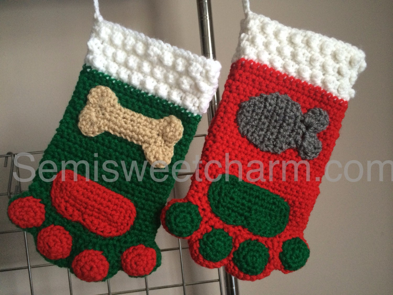 Paw Print Stocking Christmas Holiday Dog Cat Pet Photo Prop