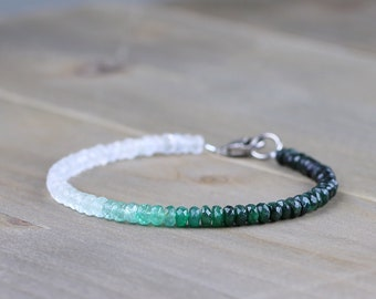 Moonstone & Emerald Bracelet, Ombre Green White Gemstone Beaded Bracelet in Sterling Silver or Gold Filled, Natural Emerald Jewelry