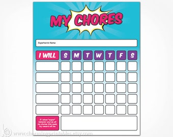 Chore Chart Printable Superhero for Girl - INSTANT DOWNLOAD - Toddler Kids Chore Chart Card Reward - Dry Erase - Pink and Purple