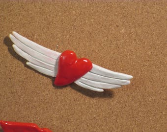 Winged heart pin/brooch handmade