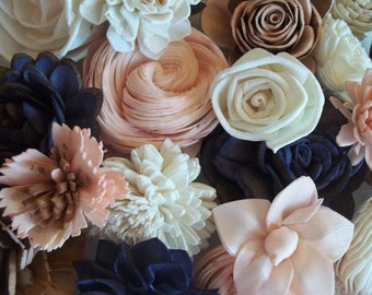 Sola Wood Flower Assortment - Set of 30 / Sola Wood Flowers / Blush Pink, Navy, Ivory / Dyed / Skins/ Wedding Flowers/ Home decor/ Crafts