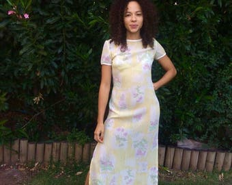 Vintage 90s Dress/ Yellow White Florals Sheer Maxi Dress/ Small