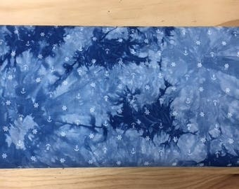 anchor and stars gradient blue 135 cm wide cotton viscose