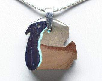 Michigan Shaped Picture Jasper Pendant with Sieber Agate and Turquoise Lake Michigan - Lower Peninsula - Sterling Silver Bail