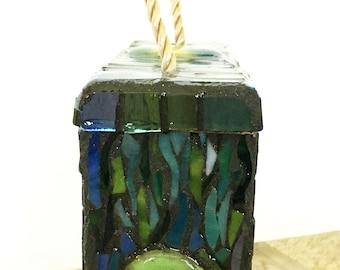 Peacock Mosaic Suet Feeder