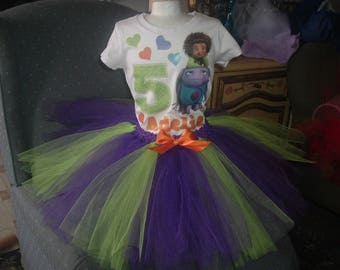 Birthday Green and Purple Home or any Theme Shirt and Tutu Tulle Skirt Birthday Outfit