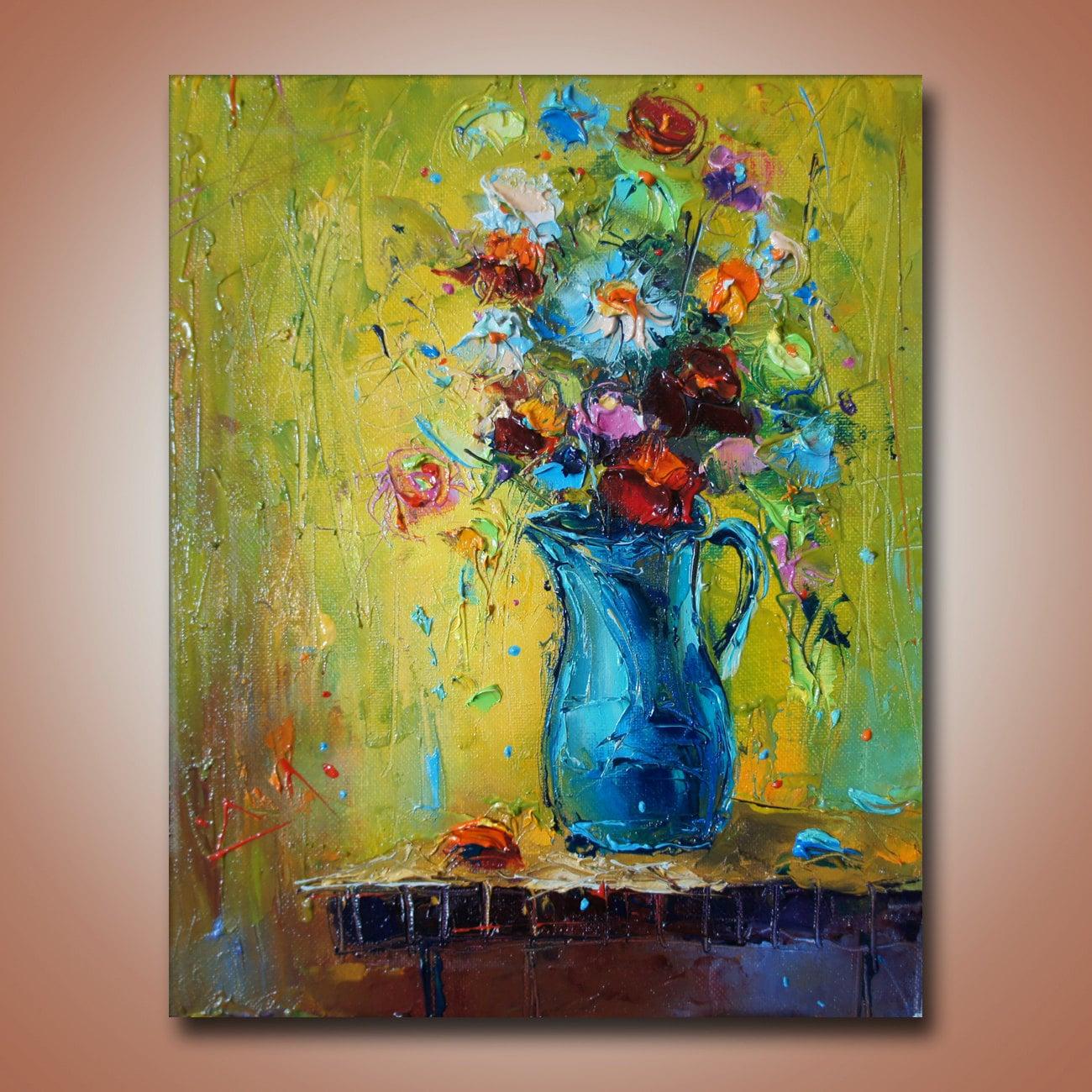 SPACHTEL Blumenkunst Ölgemälde Original-Artworks moderne