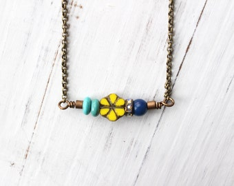 Yellow flower necklace, yellow and blue necklace, vintage style necklace, boho style, bohemian style