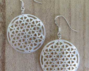 Flower of Life Earrings- Flower of Life-Gifts for her- Mother of Pearl- Shell- Sacred Geometry- Sterling Silver- Silver- Dangle Earrings