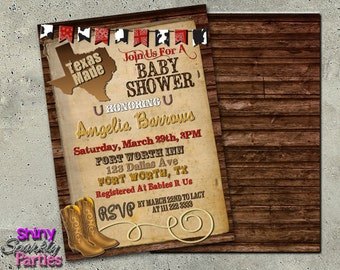 TEXAS MADE Baby Shower INVITATION, Texas Invitation, Any Sate Baby Shower Invitation, Texas Western Baby Shower Invite, Made In Texas,