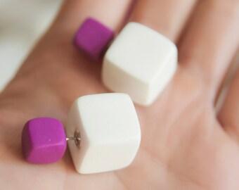 Double Pearl Earring, Square Earring, White Stud Earring, Matte White Earrings, Stud Earings, Double Sided Earring, Geometric Earrings