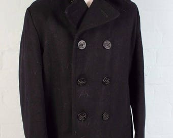 Vintage 70s USA-Navy Blue JC Penney Pea Coat Wool 10 Button Reefer Jacket 40