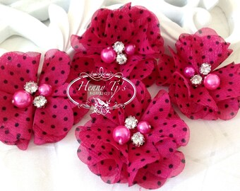 4 pcs Aubrey Hot Pink / Fuchsia Polka Dots Patterned - Soft Chiffon with pearls rhinestones Layered Small Fabric Flowers, Hair accessories