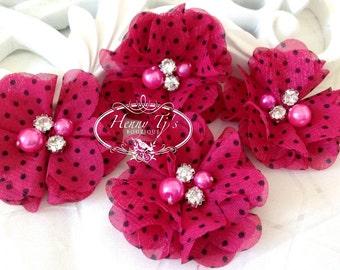 4 pcs Aubrey Hot Pink / Fuchsia Polka Dots Patterned - Soft Chiffon with pearls rhinestones Layered Small Fabric Flowers, Hair accessories