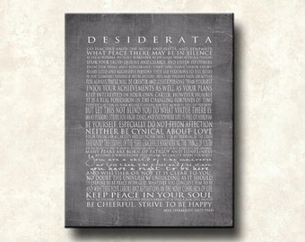 Desiderata 16x20 Gallery Wrapped Canvas Word Art Print - The NEW GRAYS - Motivational Max Ehrmann - Cafe Mount