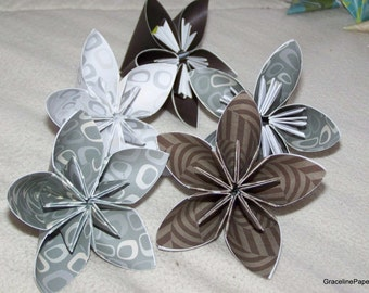 10 Kusudama Masculine Series Paper Flowers - 3 Inch Loose