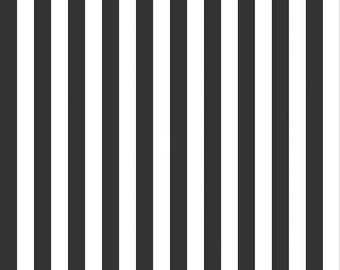 ON SALE Riley Blake Black and White 1/2 Inch Stripe